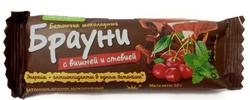 """Батончик шоколадный """"Брауни"""" с вишней и стевией  """"Петродиет""""  50г"""