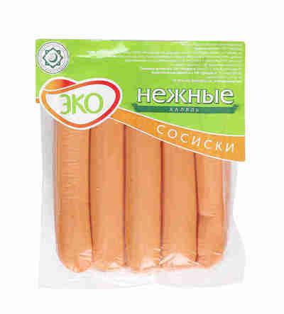 """Сосиски из мяса птицы """"Нежные Халяль"""" 6% """"Эколь"""" 480г"""