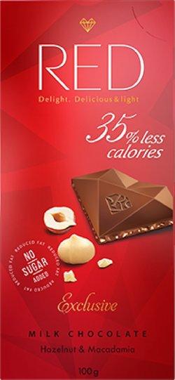 """Шоколад молочный с фундуком и макадамией """"Red Delight"""" 100г"""