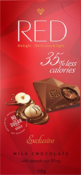 """Шоколад молочный с ореховой начинкой """"Red Delight"""" 110г"""